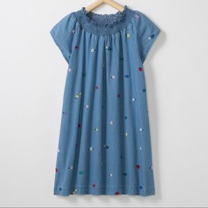 Hanna Andersson Embroidered Chambray Dress Sz 12